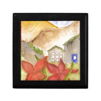 Montañas y flores caja de joyas