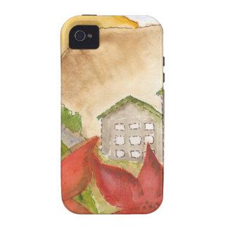 Montañas y flores iPhone 4 fundas
