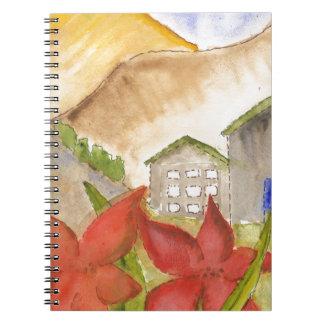 Montañas y flores cuaderno
