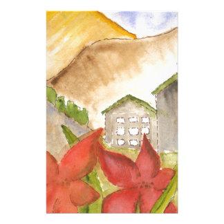 Montañas y flores papeleria de diseño
