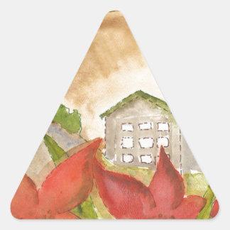 Montañas y flores colcomanias trianguladas