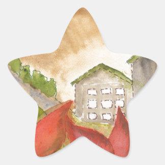 Montañas y flores colcomanias forma de estrella
