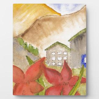 Montañas y flores placa para mostrar