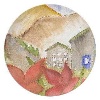 Montañas y flores plato para fiesta