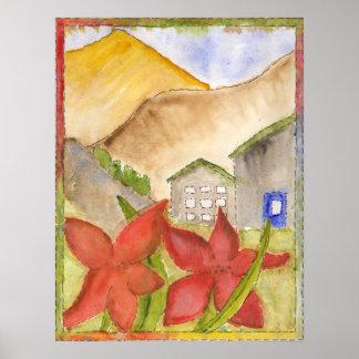 Montañas y flores póster
