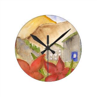 Montañas y flores relojes de pared