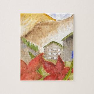 Montañas y flores rompecabezas