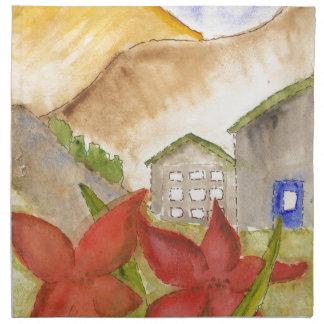 Montañas y flores servilletas de papel