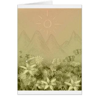 Montañas y flores tarjeta de felicitación