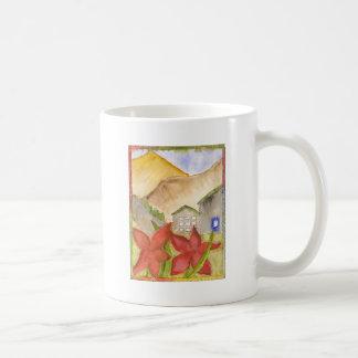 Montañas y flores taza