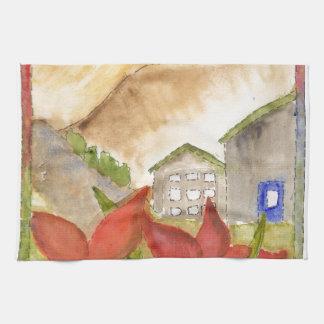 Montañas y flores toalla de mano