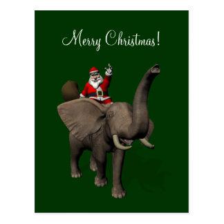Montar a caballo de Papá Noel en elefante Postal