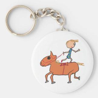 Montar a caballo del circo llavero redondo tipo chapa
