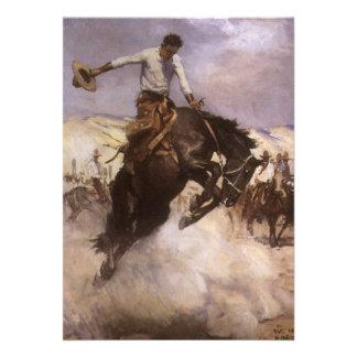 Montar a caballo ventoso por WHD Koerner vaquero Invitacion Personalizada
