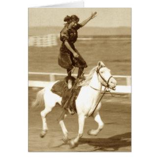 Montar el caballo blanco tarjeta de felicitación