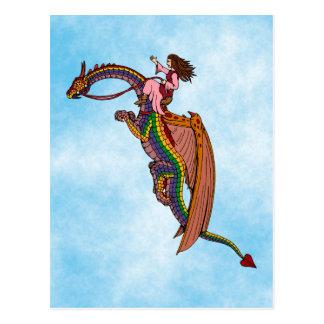 Montar el dragón del arco iris postal