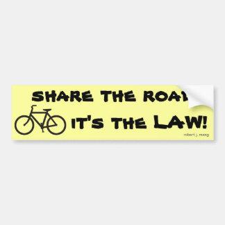 ¡Monte en bicicleta, comparta el camino, él es la  Etiqueta De Parachoque