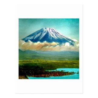 Monte Fuj más allá del 富士山 de Japón del vintage de Postal