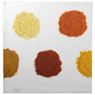 Montones de las diversas especias del condimento servilleta de tela