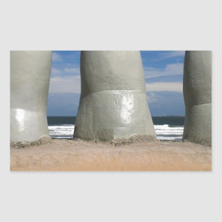 Monumento de los dedos pegatina rectangular