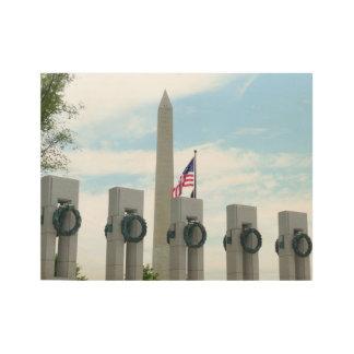 Monumento de Washington y monumento de WWII en DC Póster De Madera
