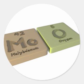 MOO como oxígeno del molibdeno y de O del MES Pegatina Redonda