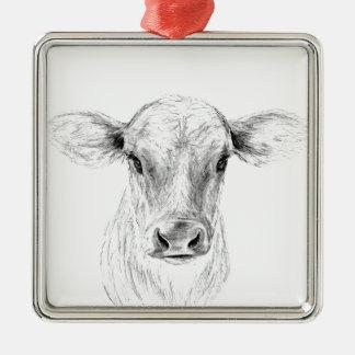 MOO una vaca joven del jersey Adorno De Cerámica