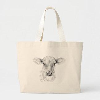 MOO una vaca joven del jersey Bolso De Tela Gigante