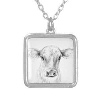 MOO una vaca joven del jersey Collar Plateado
