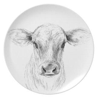 MOO una vaca joven del jersey Plato De Cena