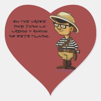 Moreno de Capitán: lo largo y del todo del por de Pegatina En Forma De Corazón