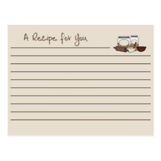Moreno de la tarjeta de la receta postales