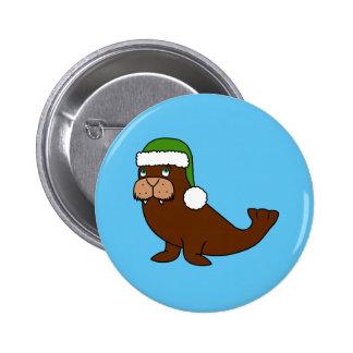 Morsa del navidad con el gorra verde de Santa Chapa Redonda 5 Cm