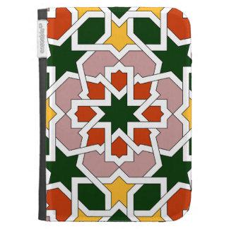 Mosaico 01 de geometría marroquí verde y rojo en