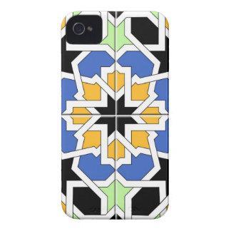 Mosaico 02 de azulejo marroquí azul y negro en iPhone 4 fundas