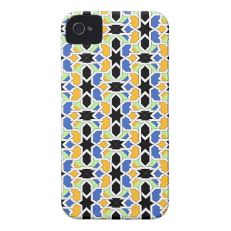 Mosaico 02 de geometría de arabesco en azul negro iPhone 4 Case-Mate cárcasas