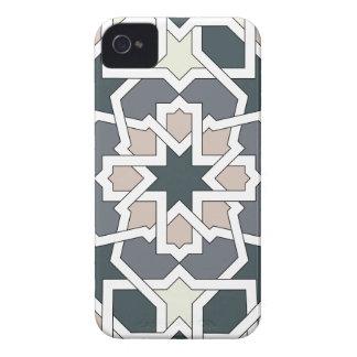 Mosaico 03 de flores y geomatría en grises en Case-Mate iPhone 4 funda