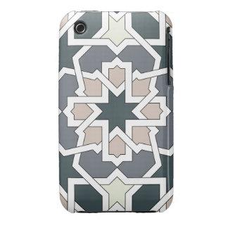 Mosaico 03 de flores y geomatría en grises en iPhone 3 cárcasas