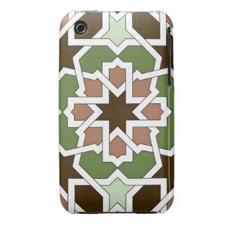 Mosaico 04 patrón geométrico arabesco verde marrón funda bareyly there para iPhone 3 de Case-Mate