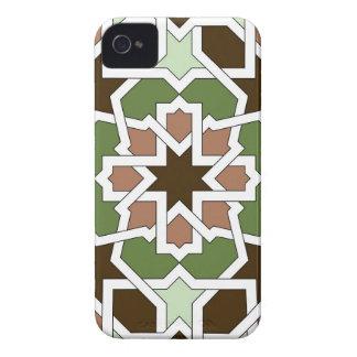 Mosaico 04 patrón geométrico arabesco verde marrón iPhone 4 cárcasa