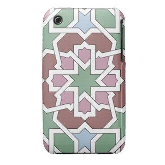 Mosaico 07 patrón de geometría árabe verde y rosa iPhone 3 Case-Mate funda