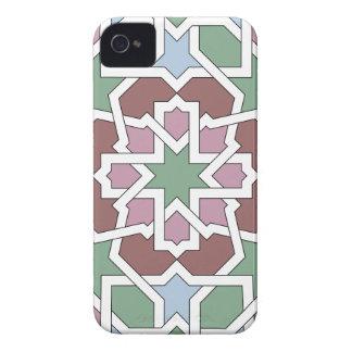 Mosaico 07 patrón de geometría árabe verde y rosa iPhone 4 Case-Mate coberturas