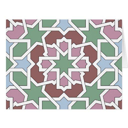 Mosaico 07 patrón de geometría árabe verde y rosa tarjetas