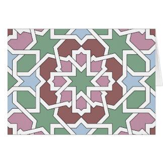 Mosaico 07 patrón de geometría árabe verde y rosa tarjetón