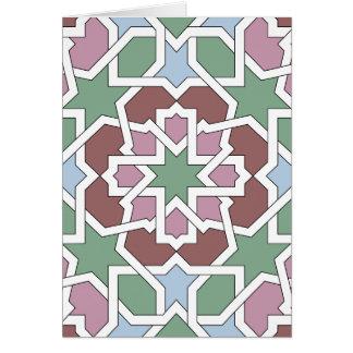 Mosaico 07 patrón de geometría árabe verde y rosa felicitación