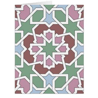 Mosaico 07 patrón de geometría árabe verde y rosa felicitacion