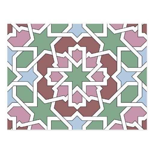 Mosaico 07 patrón de geometría árabe verde y rosa tarjeta postal