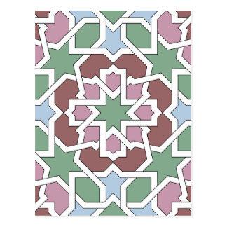 Mosaico 07 patrón de geometría árabe verde y rosa postal