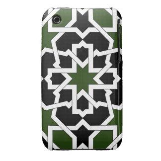 Mosaico 09 de geometría de azulejo verde y negro Case-Mate iPhone 3 carcasa