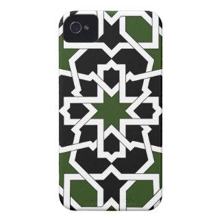 Mosaico 09 de geometría de azulejo verde y negro Case-Mate iPhone 4 cárcasas